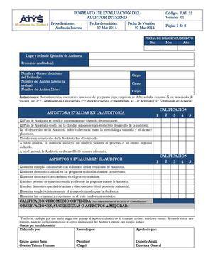 Modelo Curriculum Auditor Interno Calam 233 O F Ai 55 Formato Evaluaci 243 N Auditor Interno