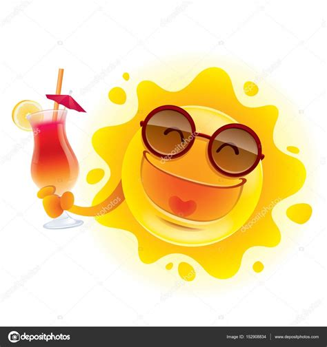 clipart sole sun in sunglasses with cocktail stock vector 169 ori