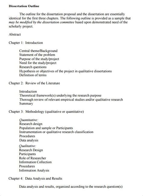 outline for dissertation dissertation outline template 10 free sle exle