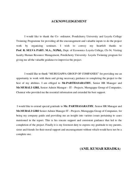 Acknowledgement Format For Mba Project Report by Mba Hr Finance Project May 2014