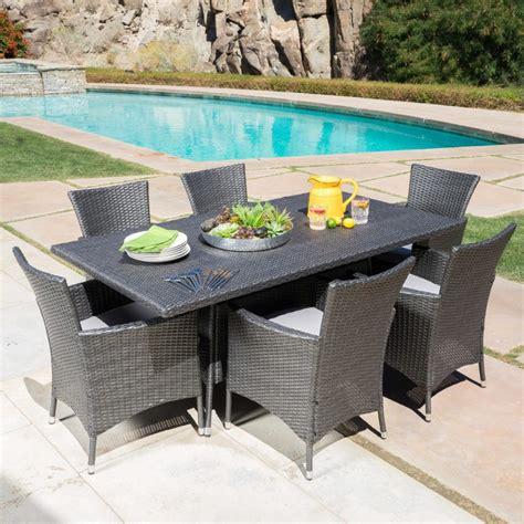 comedor de rattan gris mueble  jardin  exterior