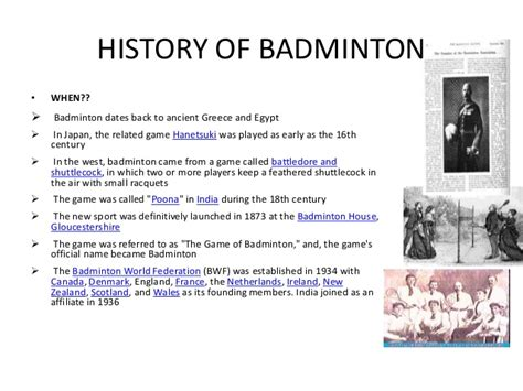 brief history of badminton an introduction to badminton