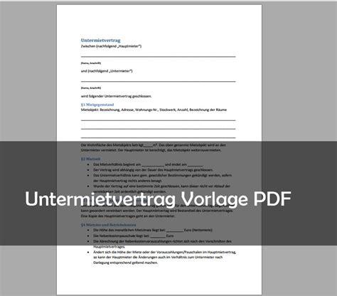 Kostenlose Vorlage Untermietvertrag untermietvertrag muster vorlage pdf giga