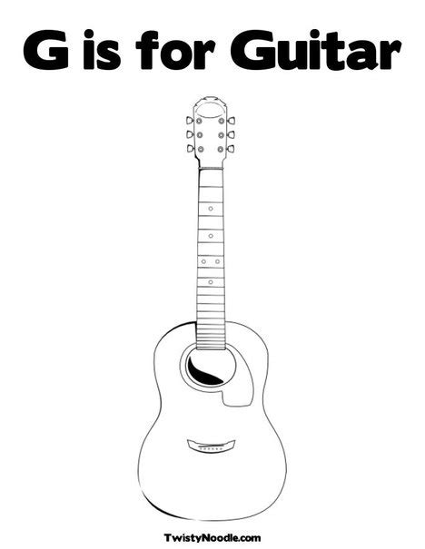 acoustic guitar coloring page best photos of template of guitar acoustic guitar