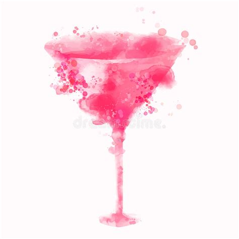 pink cosmopolitan drink pink cosmopolitan alcohol cocktail illustration stock