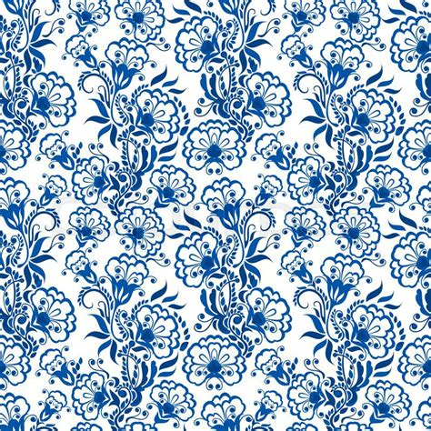 blue pattern porcelain seamless blue floral pattern background in the style of