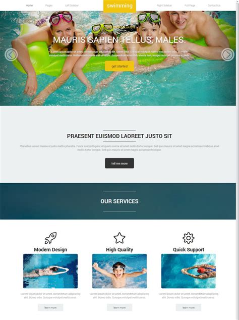 Swimming Pools Web Template Swimming Website Templates Dreamtemplate Swimming Pool Website Templates Free