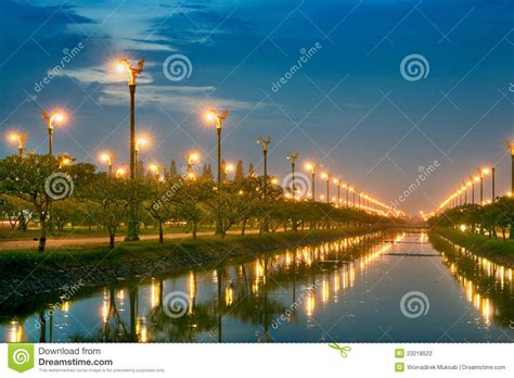 canal sound and light electric light in canal stock photography image 23218522