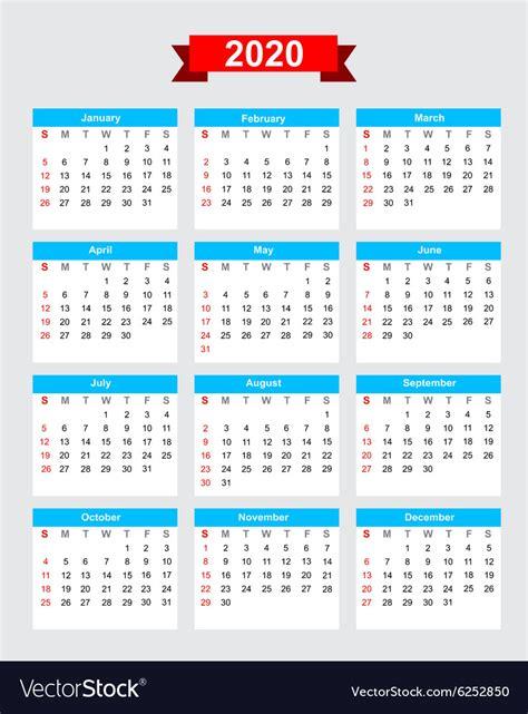 calendar week start sunday royalty  vector image