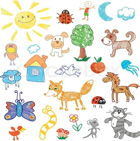 doodle animals vector free childrens drawing doodle animals unicorn and sheep