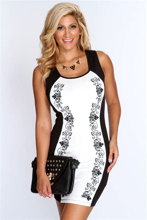 Dress Model Black Style Impor 46 fashion black and white flowers print bodycon dress n10107