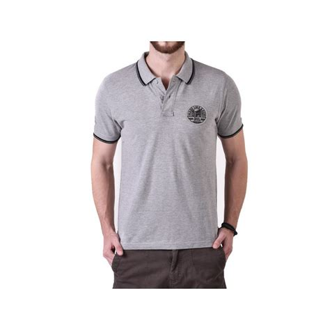polo grey stripe shirt pin stripe tipping polo shirt grey