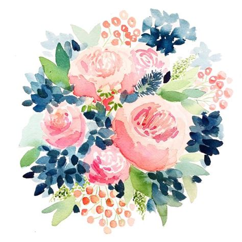 lush blooms floral watercolour collection books navy and pink garden roses watercolor print april