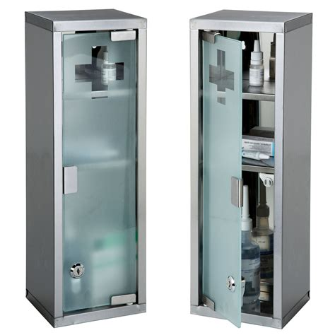 Glass Door Medicine Cabinet Large Wall Mountable Medicine Cabinet Cupboard Aid Lockable Glass Door New