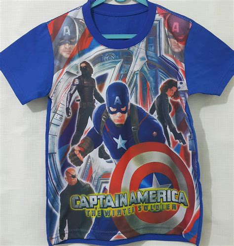 Kaos Cotton Combed Captain America by Kaos Printing Captain America Blue 1 6 Grosir Eceran