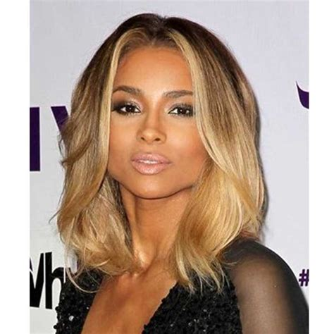 Ciara inspired ombre blonde color wavy short bob lace front human hair wigs everbeautyonline