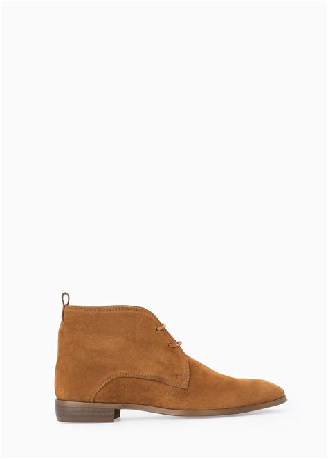 mango lace up suede ankle boots in brown lyst