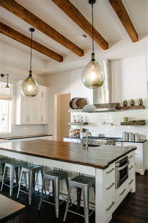 gorgeous open wood beam ceilings open floor plan counter