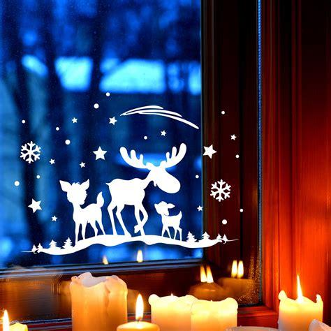 Fensterbilder Weihnachten Selbstklebend Sterne by Fensterbild Elch Rehe Fensterdeko Fensterbilder Winter