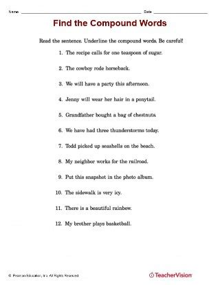find the compound words in the sentence teachervision