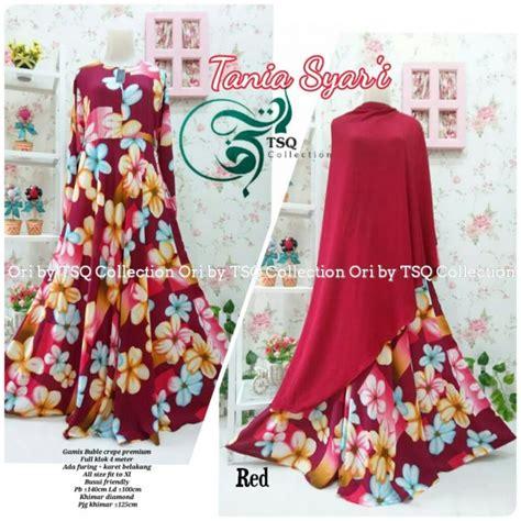 Set Gamis Buble Crepe Khimar Bergo Lancip gamis cantik tania crepe baju muslim syar i terbaru