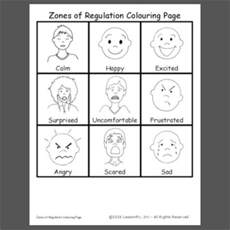 zones of regulation printable faces lessonpix sharing center