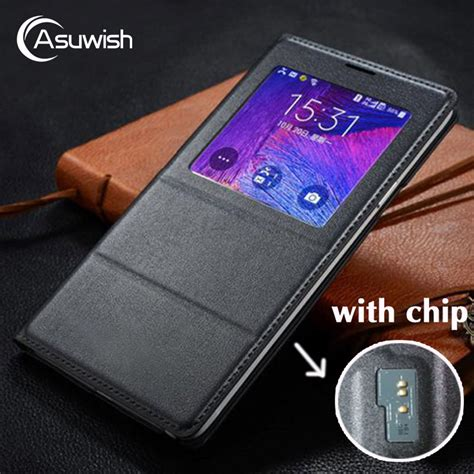 Sarung Flip Cover Note4 asuwish flip cover leather for samsung galaxy note 4 note4 n910 n910f n910h phone