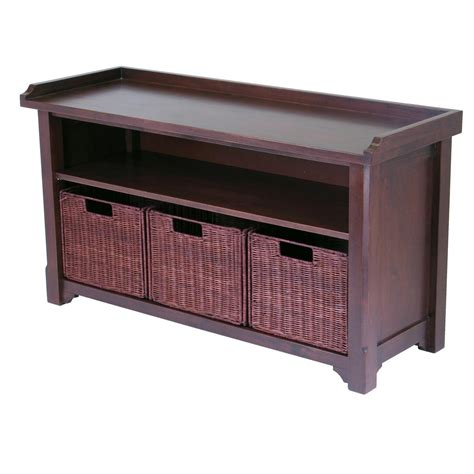 small storage bench with baskets winsome bench with storage shelf and 3 small baskets 2