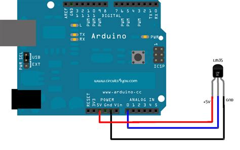 Sensor Suhu Lm35 Arduino Avr lm35 temperature sensor interfacing with arduino circuits4you