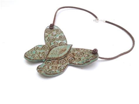 Pottery Jewelry Handmade - ceramic jewelry ceramic necklace handmade butterfly by vibart