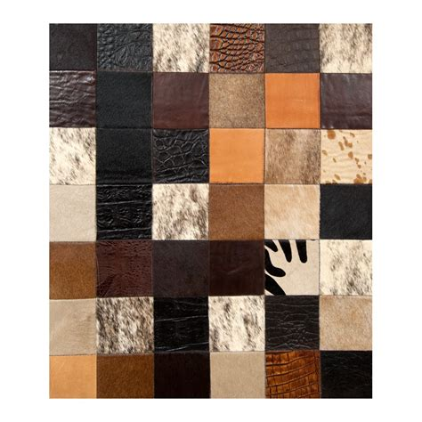 Patchwork Cowhide Rugs - patchwork cowhide mosaik black brown white leather carpet