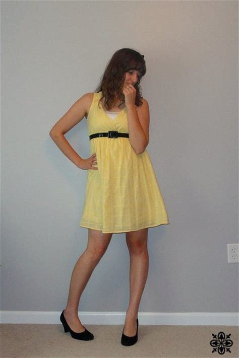yellow kohls dresses black shoes black thirfted belts