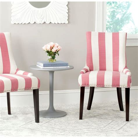 Pink Dining Room Chairs Safavieh Lester Pink White Linen Blend Dining Chair Set Of 2 Mcr4709aq Set2 The Home Depot