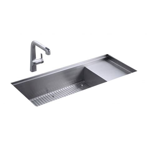 Kohler Undermount Kitchen Sinks Kohler Stages Single Bowl And Drainer 1143mm X 470mm Brushed Steel Undermount Kitchen Sink 3761