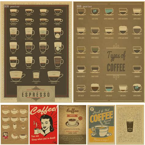 coffee beer wine collection bars kitchen drawings posters adornment vintage poster wall