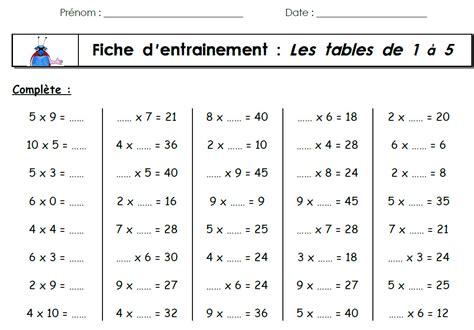 Les De Table by Exercice De Table De Multiplication 2 3 4 5 6 Tables De