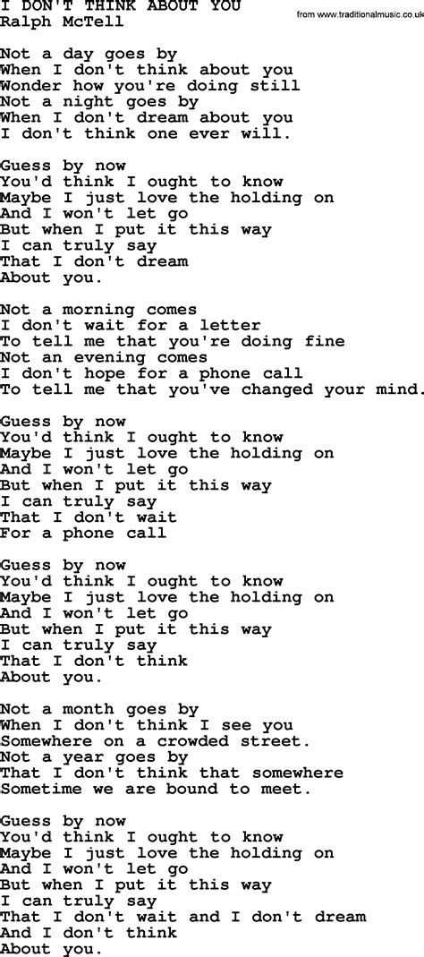 i don t think about you txt by ralph mctell lyrics and