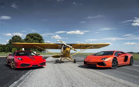 Ferrari And Lamborghini by Ferrari F430 Scuderia Lamborghini And Plane Hd