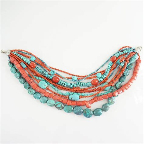 stephen dweck coral and turquoise multi strand beaded