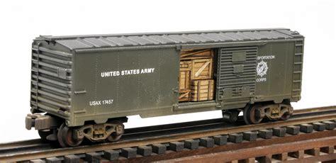 box car train us army steam railsounds box car with door cargo insert