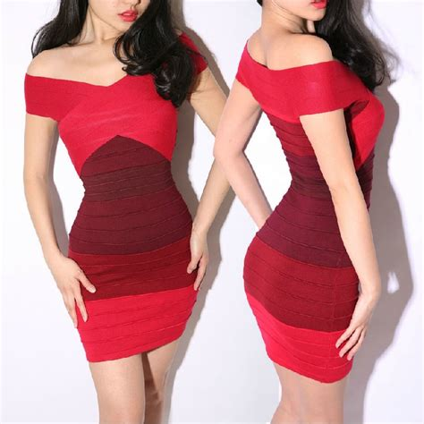 Mini Dress Lucu Real Pic real photo gradient ombre pink color bandage dress bodycon mini rayon v neck