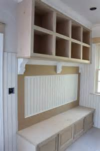 Mudroom bench and cubbies custom home finish