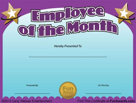 employee of the month certificate templates month quotes like success