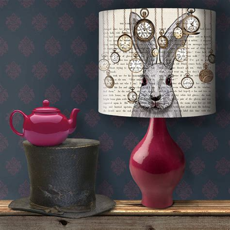 alice in wonderland home decor alice in wonderland white rabbit lshade by fabfunky home decor notonthehighstreet com