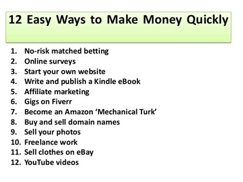 Make Fast Money Online Legally - 12 easy ways to make money quickly l make money online fast