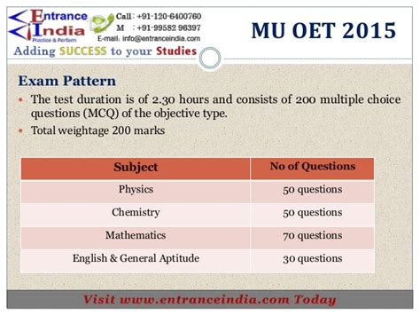 pattern of net exam 2015 mu oet engineering syllabus by entranceindia