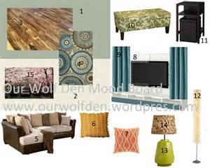 mood board green blue and brown living room our wolf den