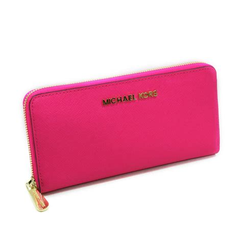 michael kors jet set travel continental genuine leather wallet clutch neon pink 32s3gtve3l