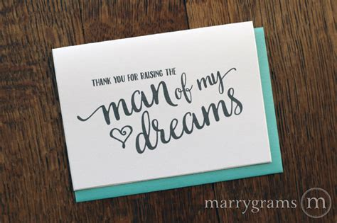 Gift Letter Ma Thank You For Raising The Of My Dreams Card For In Laws