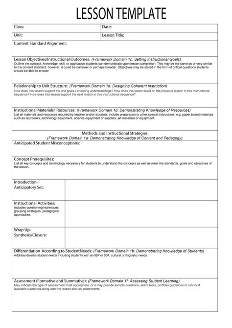 free lesson plan templates 20 word pdf format download